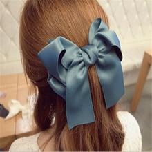 Милые модные аксессуары для волос корейский женский многоцветный сатин лента бант заколка для волос s заколка конский хвост держатель cc0070