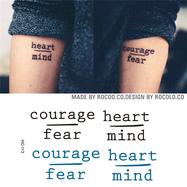 Rocooart HC1113 Waterproof Temporary Tattoo Stickers Courage Fear Heart Mind Letters Design Water Transfer Harajuku Fake Tattoo 17