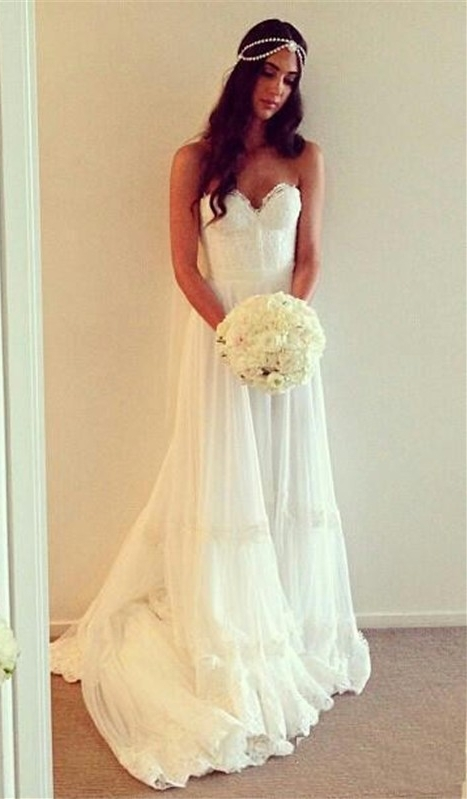 Hippie wedding dresses bohemian style sweetheart chiffon for Hippie style wedding dresses