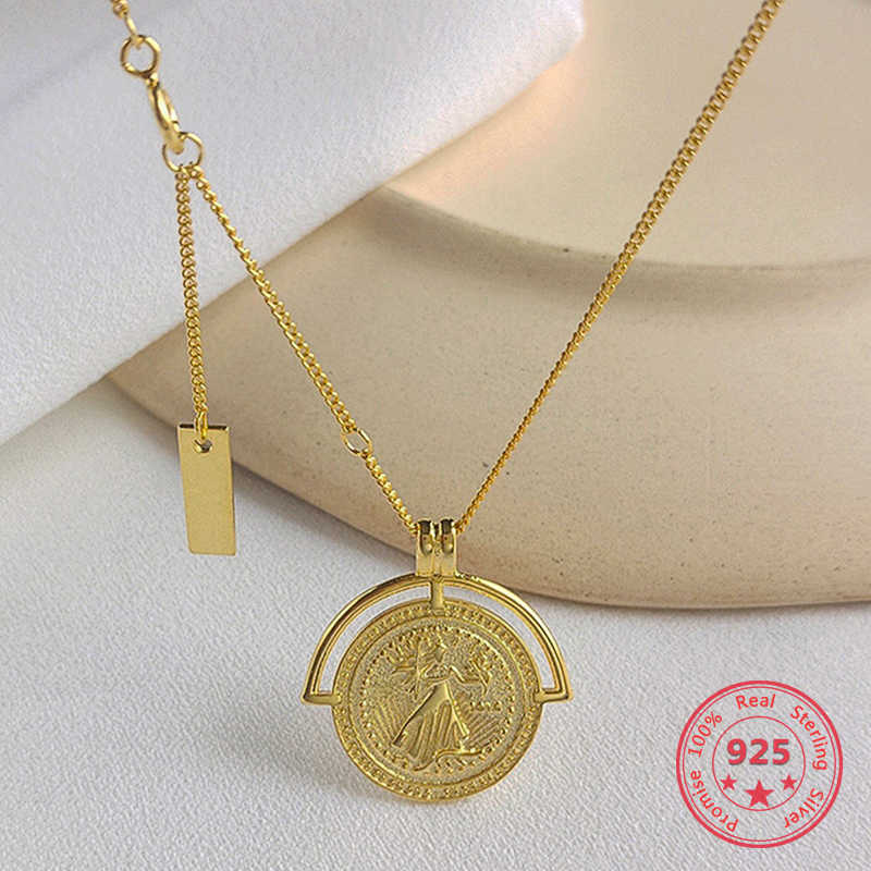 925 Silver European American New Style Gold Round Coins Pendant Choker Necklace India Jewelry