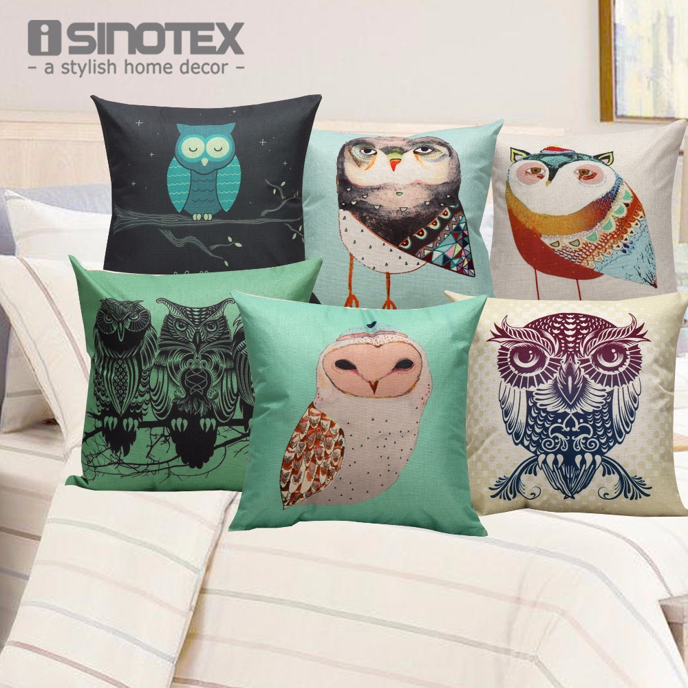 Home Deco Cushion Cover 43cm X 43cm Reactive Printing Owl Throw Pillow Cases Decoration For Car Living Room