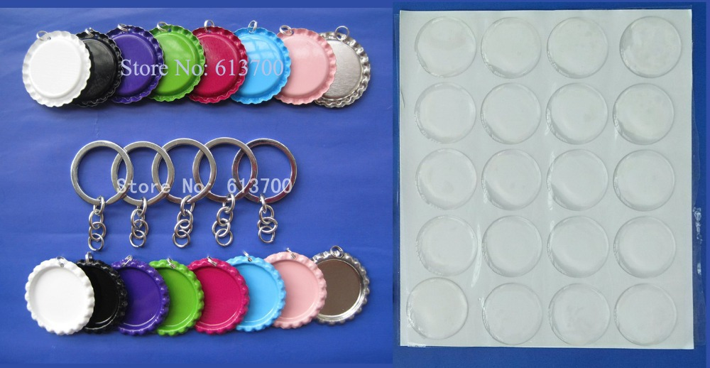 Free Shipping 1500 pcs lot 500 Pcs Flattened two Side Colored Bottle caps 500 pcs Clear