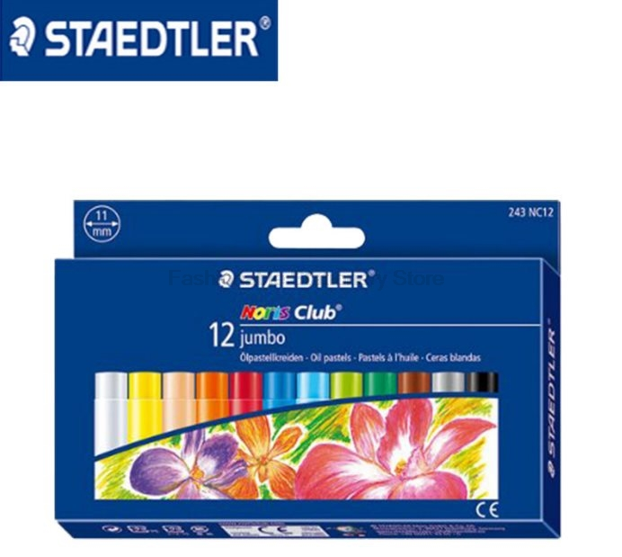 STAEDTLER 243 NC 11mm 12 color Oil painting sticks Soft Crayon for Children Artist Art School Supplies Crayons Colored Pencils sakura sakura xep 50 50 color oil painting bags set art soft crayons