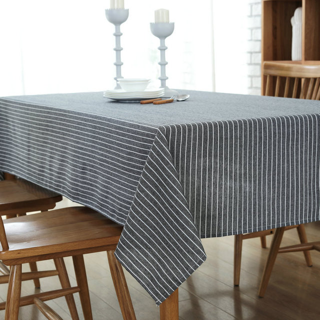 Attirant European Simple Tablecloth Striped Table Cloth High Quality Cotton Linen  Fabric Dustproof Table Cover For Bar