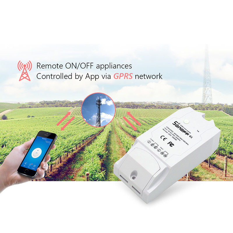 Newest Sonoff G1 GPRS/GSM Remote Power Smart Switch Remote Control Any Connected Home Appliances Via Android iOS eWeLink
