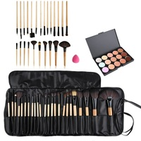 Hot Professional Beauty Makeup Concealer Fashion15 Color Concealer Platte 24pcs Pro Makeup Cosmetic Brushes Sponge Puff