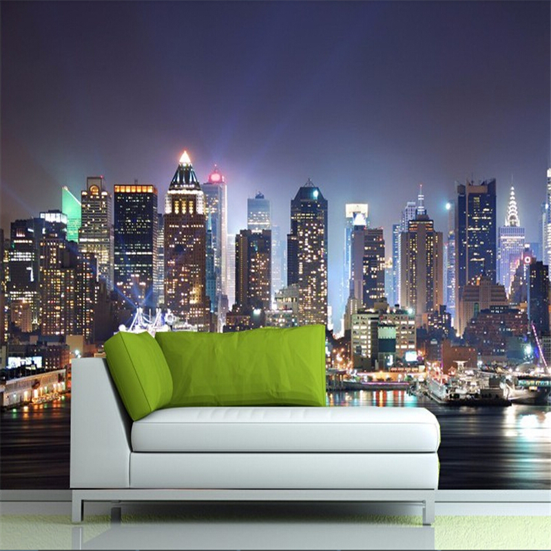 beibehang Manhattan 3d papel de paede, New York City large mural wallpaper night background scenery TV sofa bed paper parede