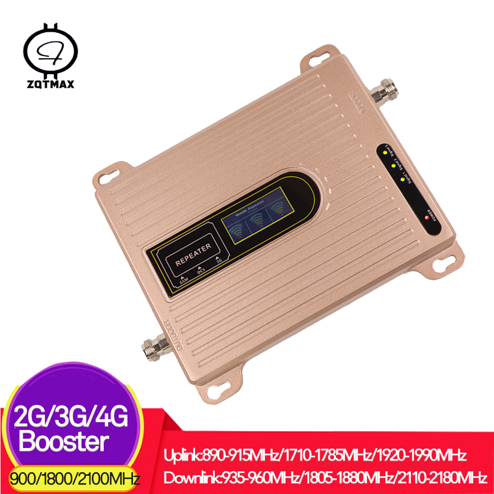 ZQTMAX <font><b>75dB</b></font> <font><b>2G</b></font> <font><b>3G</b></font> <font><b>4G</b></font> Mobile Phone Signal Booster <font><b>GSM</b></font> repeater WCDMA DCS Lte cellular amplifier 900 1800 2100 tri band repeater image
