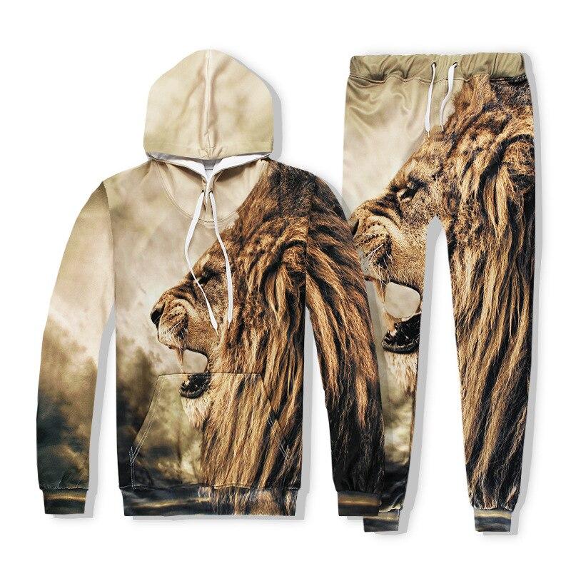 Hot 2 Piece Set Men And Women Casual Tracksuits 3D Print Roaring Lion Fashion Hoodies Hooded+Pants Sweatshirt Track Suit S-XXL