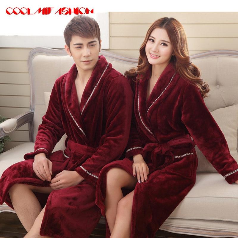c49de0ff39 Sexy Men Women Luxury Winter Bathrobe Mens Warm Silk Flannel Long Kimono  Bath Robe Male Bathrobes Lovers Night Dressing Gown