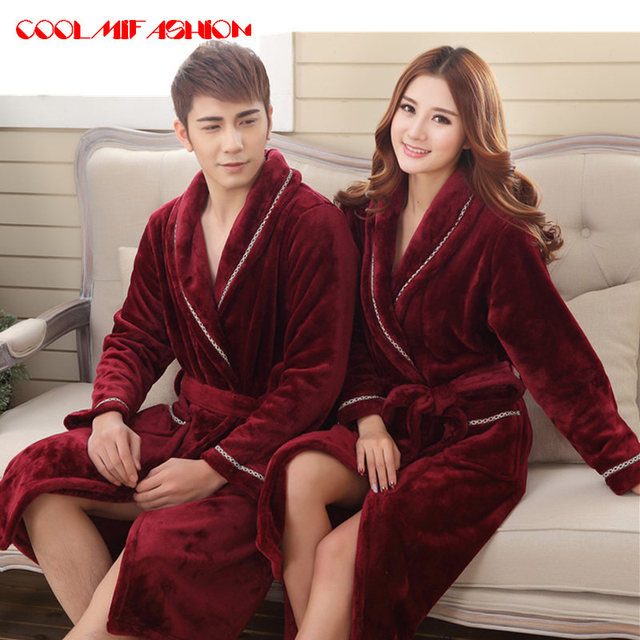 d559b394d9 Sexy Men Women Luxury Winter Bathrobe Mens Warm Silk Flannel Long Kimono  Bath Robe Male Bathrobes Lovers Night Dressing Gown