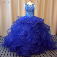 Julia Kui Scalloped Neckline Of Ball Gown Quinceanera Dresses With Organza Fabrics Sewing With Rhinestones Beading