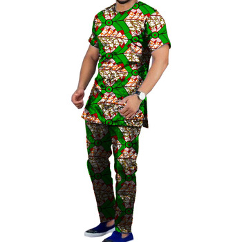 Moda conjunto de los hombres dashiki camisa con pantalón 2 piezas de la  impresión de la cera tops + Pantalones ropa de África personalizado 71f60ea8776