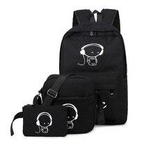 2016 женщины рюкзак школьные сумки для девочек-подростков спортивные рюкзаки набор Mochila печать BookBag милый холст XM8464