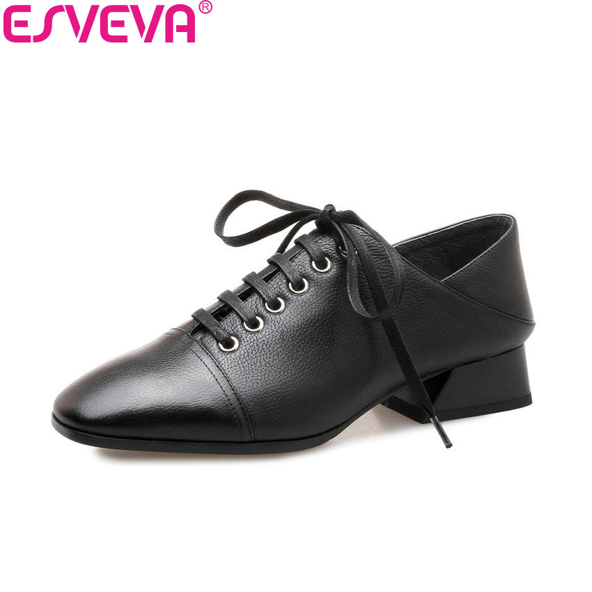 ESVEVA 2018 Women Pumps Western Style Lace Up Cow Leather PU Square Med Heels Square Toe Out Door Ladies Shoes Size 34-42 esveva 2018 pointed toe western style women pumps cow leather pu square high heels lace up out door ladies shoes size 34 43