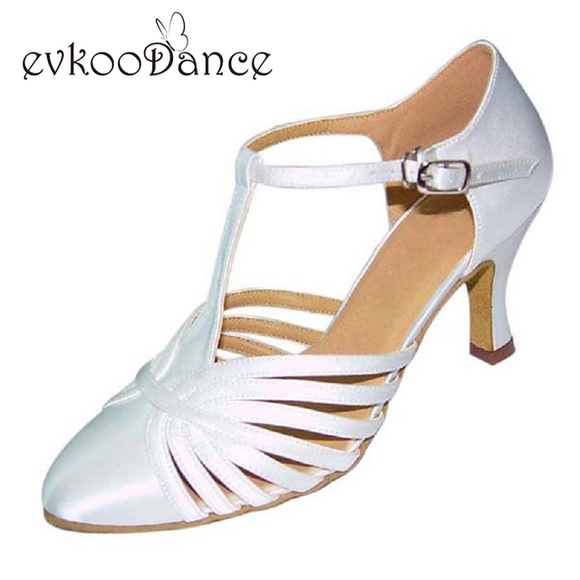 Zapatos De Baile White Black Tan Gold Silver Khaki Heel Height 7cm Size US  4-12 Ballroom Dance Salsa Shoes For Women NB013 6bc493778c00