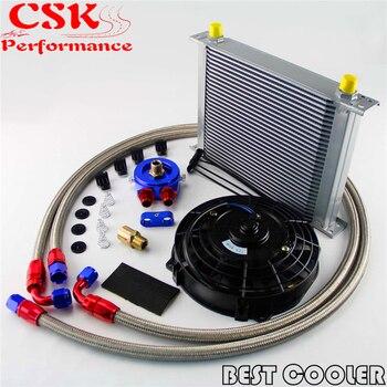 "8AN 30 Row Universal Engine Oil Cooler w/ AN-8 Filter Adapter Hose Kit +7"" Universal Fan kits"