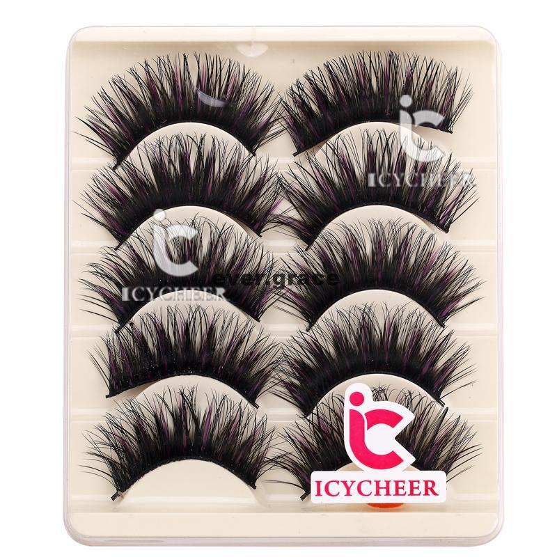 ICYCHEER 5 Pairs Makeup False Eyelashes Black & Purple Eye Lashes Extension Cosmetics