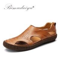 BIMUDUIYU Cow Split Leather Men Sandals waterproof Summer Flats Shoes Korean Version Daily Breathable Feet Lazy Casual Sandals