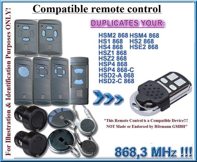 4 Channel Hormann Hsm4 868 Mhz Remote Control Compatible