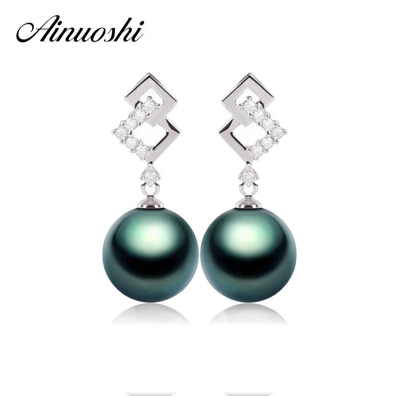 AINUOSHI luxe naturel mer du sud noir Tahiti perle boucle d'oreille 9mm carré fiançailles goutte boucle d'oreille 925 en argent Sterling fille bijoux