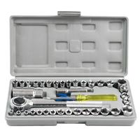 40pcs 1/4 Inch and 3/8 Inch Combination Socket Wrench Set Drive Ratchet Wrench Spanner Repairing Tool Set Common Sockets Kit