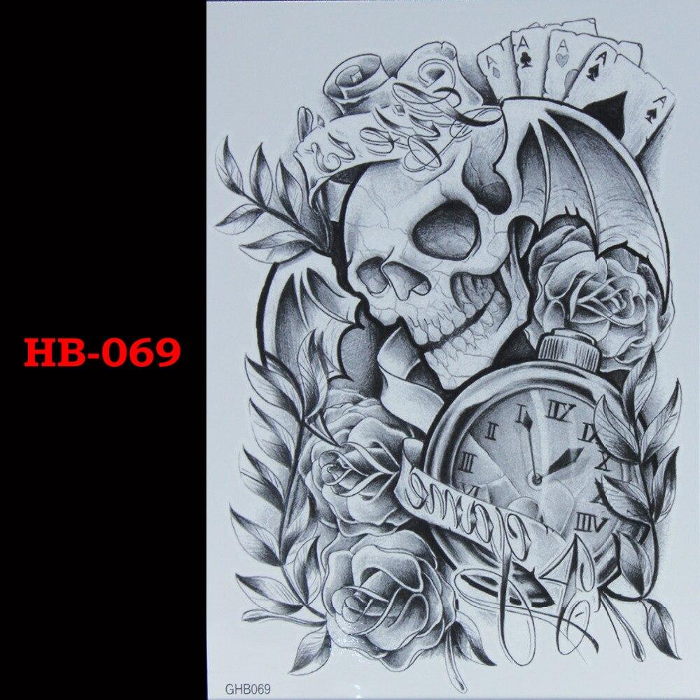 Rose plants skeleton Temporary Tatto Waterproof Men Women Tattoo Arm Sticker Fake Arm Sleeve Body Tattoo Shoulder Tattoos