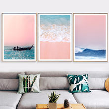 Canvas Painting Beach Ship Sea Wall Art Nordic Posters And Prints Pineapple Home Decoration Pictures For Living Room(China)