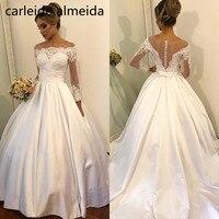 Vestido de Noiva Scoop Long Sleeves Ball Gown Wedding Dress Lace Appliques Pearls Wedding Gowns Brautkleid