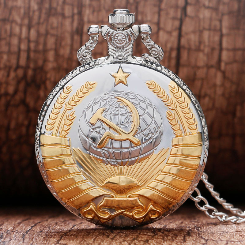 Vintage Cool Silver and Golden Soviet Union Symbol Sickle and Hoe Shape Quartz Pocket Watch With Necklace Chain Best Gift