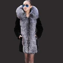 Womens winter coat New 2017 fur female long section hooded imitation fox mink