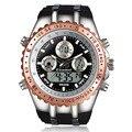 2017 readeel moda hombres relojes completas de acero de los hombres del reloj de cuarzo horas analógico digital led reloj deportivo reloj militar reloj de pulsera