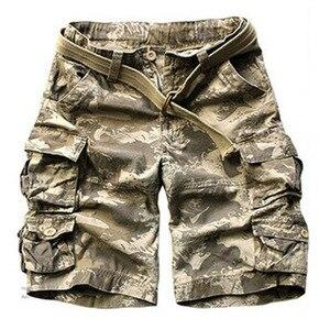 Image 5 - קיץ מכנסיים קצרים מטען גברים רבים כיס הסוואה חצי מכנסיים קצר מקרית Loose Camo מכנסיים באורך הברך עם חגורה ברמודה זכר