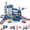 Kits modelo de Construção-A Polícia de Plantão-Helicóptero de Brinquedo-Carro Estacionamento brinquedo-Ferroviário Pista De Corrida de Carros Brinquedos Com 1 Helicóptero & 2 Carros