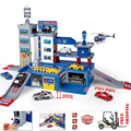 Model Building Kits - Police On Duty - Helicopter Toy - Car Parking Toy - Rail Car Racing Track Toys With 1 Copter & 2 Cars