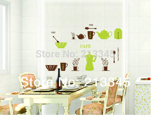[saturday Monopoly] Diy Wall Stickers Home Decor Adhesive Kitchen Tiles Cabinet Tableware Decals Cup Kettle Adesivo De Parede
