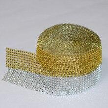 5 Yard 4cm 8 rows Silver Gold Diamond Mesh Cake Wrap Roll Sparkle Rhinestone  Crystal Ribbon Wedding Party Decorations Trimming b34fb34374f4