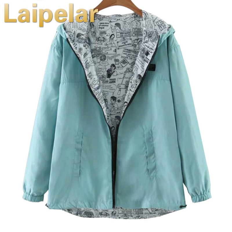 Laipelar 2018 Autumn Women Bomber Basic Jacket Pocket Zipper Hooded Two Side Wear Cartoon Print Outwear Loose Coat