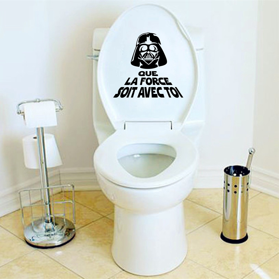 creative french vinyl wall sticker star war toilet wc. Black Bedroom Furniture Sets. Home Design Ideas