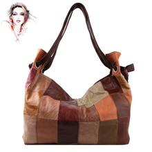 [Cobbler Legend] Vintage Women Casual Tote Large Capacity Genuine Leather Patchwork Handbags Colorful Oversize Zipper Bag WN017