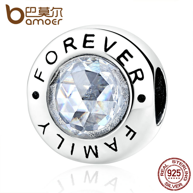 BAMOER Classic 925 Sterling Silver Family Forever, Clear CZ Bead Fit Charm Bracelets Fashion Jewelry PAS378 925 sterling silver sea turtle charm beads fit bracelets original animal turtle clear cz bead diy jewelry pas147