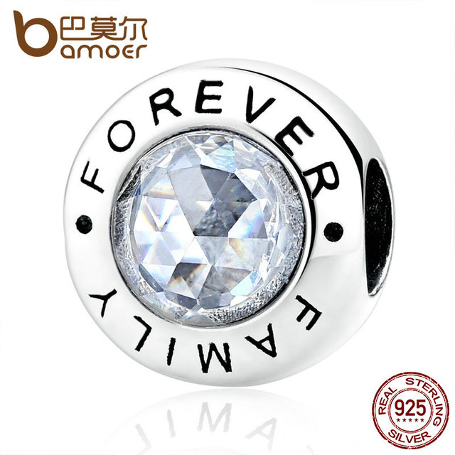BAMOER Classic 925 Sterling Silver Family Forever, Clear CZ Bead Fit Charm Brace