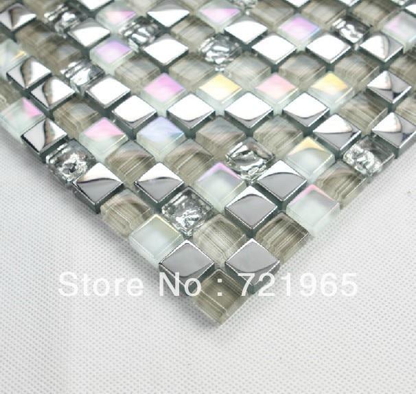 Decor mesh glass mosaic stainless steel tile ssmt002 glass for Installing glass tile with mesh back