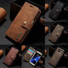 Luxury Leather Wallet Case for Samsung Galaxy S7 S7 Edge Vintage Multifunction Flip Cover Phone Bag with Card Holder