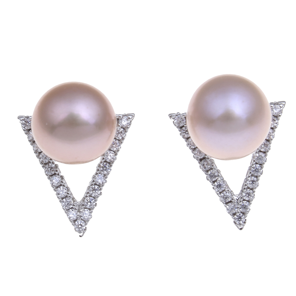 Yyw Natural Freshwater Pearl Earrings Jewelry Rhinestone Triangle Cubic  Zircon Rhinestone Pink Purple White Pearl Stud