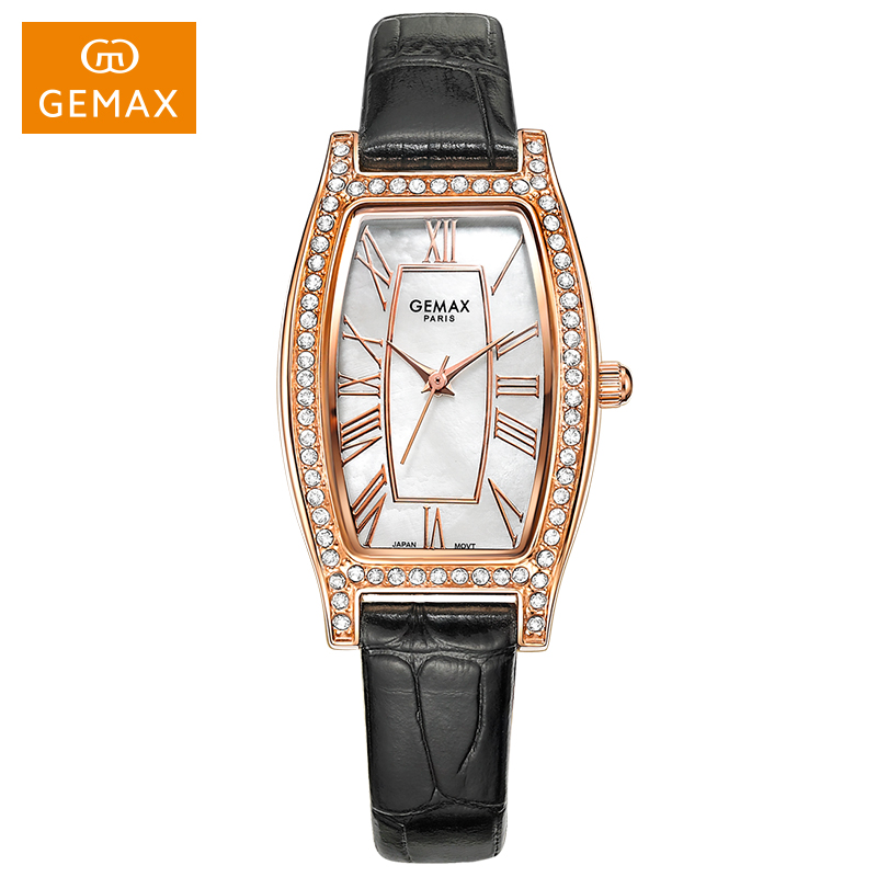 GEMAX Women's Watch Quartz Analog Genuine Leather Strap Watches Waterproof Rectangle Roman Ladies Wristwatches Luxury Package lpsecurity 3g s261 gsm sms 4 sensor inputs temperature monitoring rtu online temperature alarm controller data transmission unit