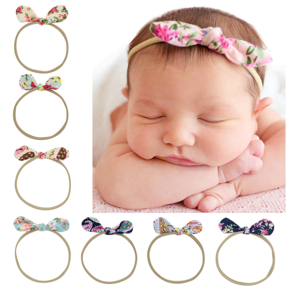 1 Piece MAYA STEPAN Children Girls Fashion Bow Tie Head Hair Band Print Baby Newborn Hair Rope Headband Headwear Headwrap