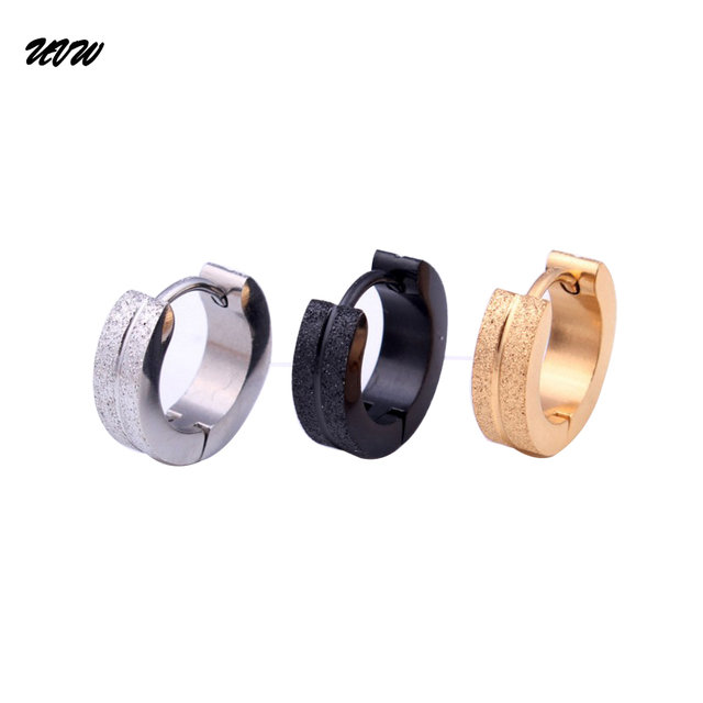 Uvw0066 Fashion Round Men Women Stainless Steel Hoop Earring Silver Black Gold Earring10 4mm Earrings