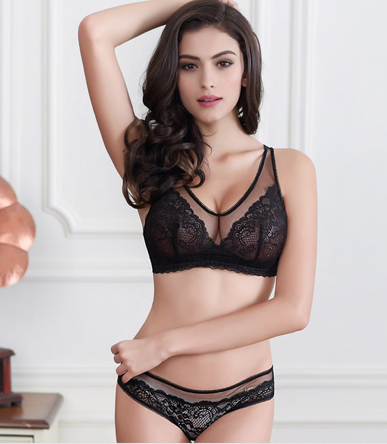50f1e2f56e7 Luxury Sexy Sheer Thin Lace Bra Set/Panties/Lingerie Free Shipping yw008