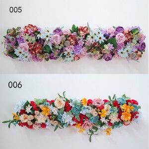 Image 5 - 1M Europäischen hochzeit requisiten seide künstliche blume reihe anordnung bühne T plattform straße führen blume reihe arch floral wand decor